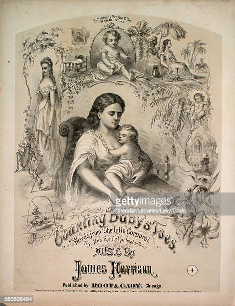 Sheet music cover image of the song 'Counting Baby's Toes' with original authorship notes reading 'Words from 'The Little Corporal' By Mrs Emily...