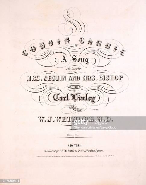 Sheet music cover image of the song 'Cousin Carrie A Song' with original authorship notes reading 'Written by Carl Linley Composed by WJ Wetmore MD'...