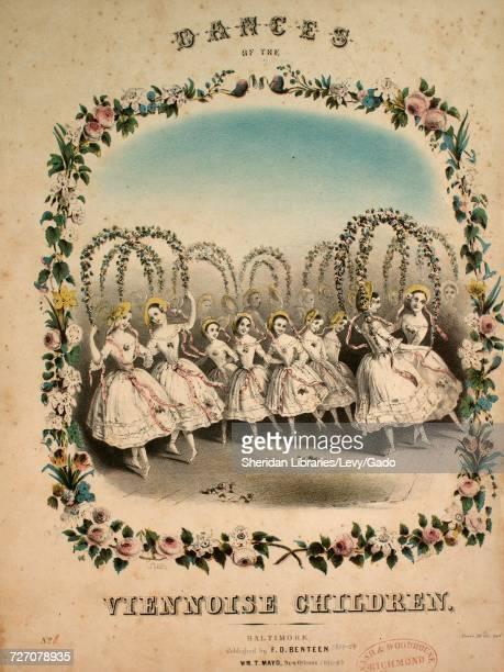 Sheet music cover image of the song 'dances of the Viennoise Children Pas Des Fleurs Flower Dance' with original authorship notes reading 'maretzek'...