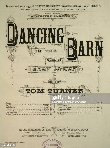 Sheet music cover image of the song 'dancing in the Barn Song' with original authorship notes reading 'Words by Andy McKee Music by Tom Turner'...