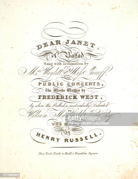 Sheet music cover image of the song 'dear Janet A Ballad' with original authorship notes reading 'the Words Written by Frederick West The Music by...