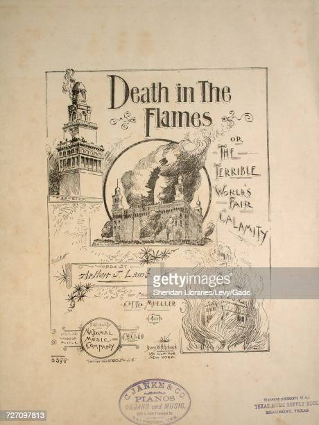 Sheet music cover image of the song 'death in the Flames or The Terrible World's Fair Calamity' with original authorship notes reading 'Words by...