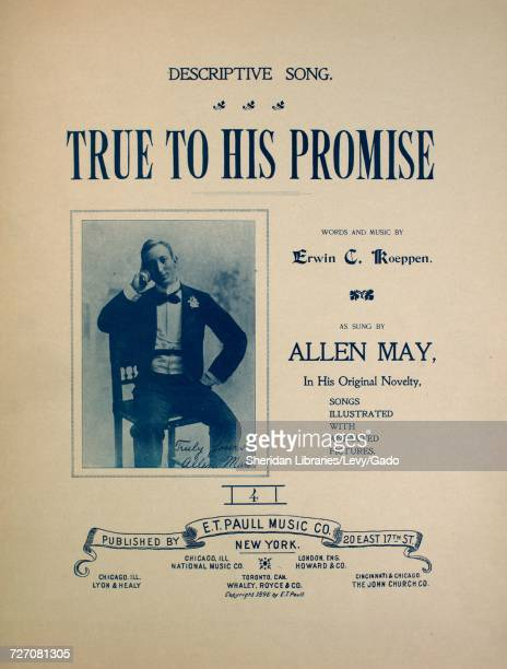 Sheet music cover image of the song 'descriptive Song True To His Promise ' with original authorship notes reading 'Words and Music by Erwin C...
