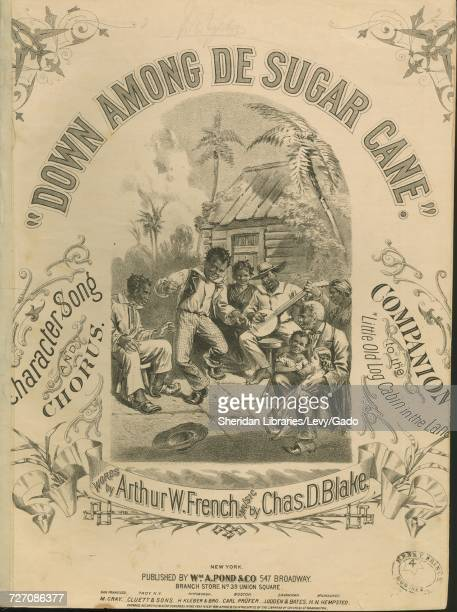 Sheet music cover image of the song 'down Among de Sugar Cane Character Song and Chorus Companion to the 'Little Old Log Cabin in the Lane'' with...