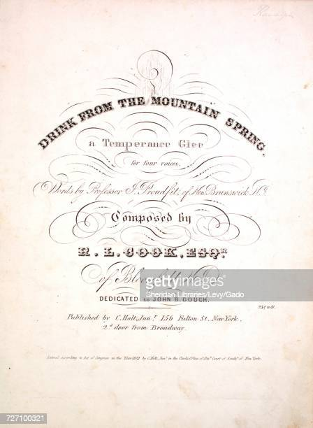 Sheet music cover image of the song 'drink From the Mountain Spring A Temperance Glee for four voices' with original authorship notes reading 'Words...
