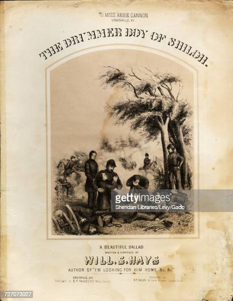 Sheet music cover image of the song 'drummer Boy of Shiloh A Beautiful Balld' with original authorship notes reading 'Written and Composed by Will S...