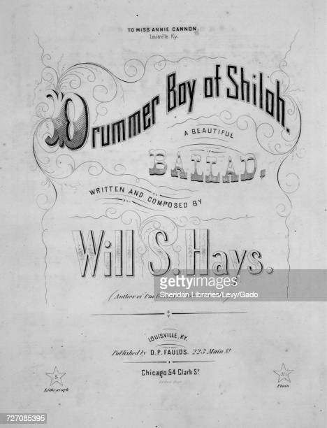 Sheet music cover image of the song 'drummer Boy of Shiloh A Beautiful Ballad' with original authorship notes reading 'Written and Composed by Will S...