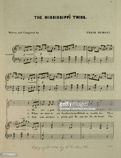 Sheet music cover image of the song 'Ethiopian and Comic Songs Mississippi Twins' with original authorship notes reading 'Written and Composed by...
