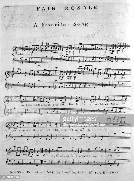 Sheet music cover image of the song 'Fair Rosale A Favorite Song' with original authorship notes reading 'na' United States 1800 The publisher is...
