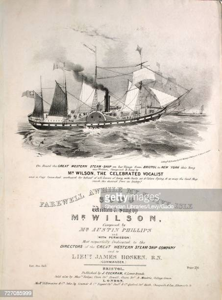 Sheet music cover image of the song 'Farewell Awhile My Native Isle Song' with original authorship notes reading ''On Board the Great Western...