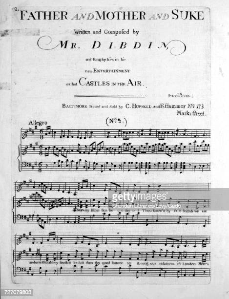 Sheet music cover image of the song 'Father and Mother and Suke' with original authorship notes reading 'Written and Composed by Mr Dibdin' United...