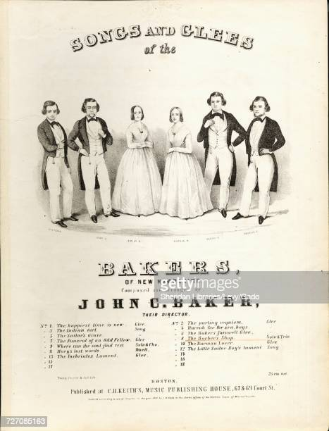 Sheet music cover image of the song 'First Set of Songs and Glees of the Bakers of New Hampshire The Barber's Shop Trio' with original authorship...