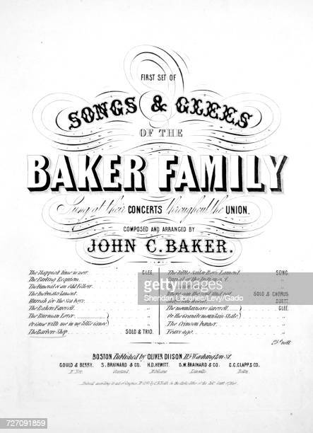 Sheet music cover image of the song 'First Set of Songs and Glees of the Baker Family The Barber's Shop Trio' with original authorship notes reading...