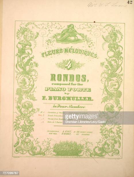Sheet music cover image of the song 'Fleurs Melodiques 4 Rondos No 2 Rondo Irlandais' with original authorship notes reading 'Composed for the Piano...