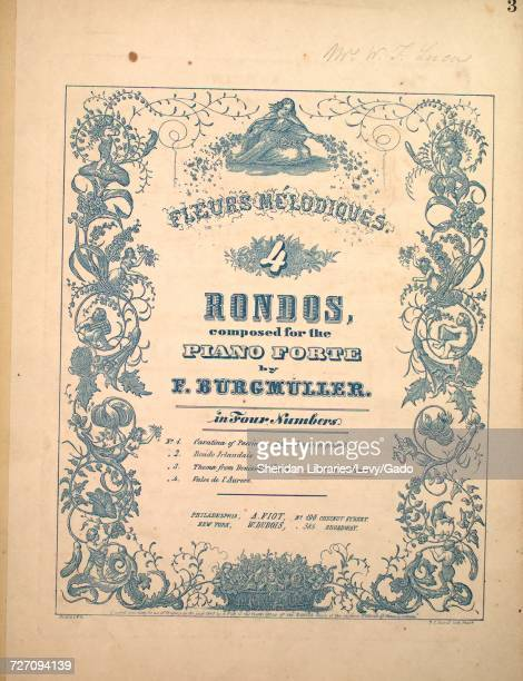 Sheet music cover image of the song 'Fleurs Melodiques 4 Rondos No 3 Thema from Donizetti's Opera L'Elisire d'amore' with original authorship notes...