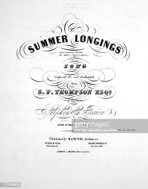 Sheet music cover image of the song 'Foster Hall Reproductions Summer Longings Song' with original authorship notes reading 'Composed By Stephen C...