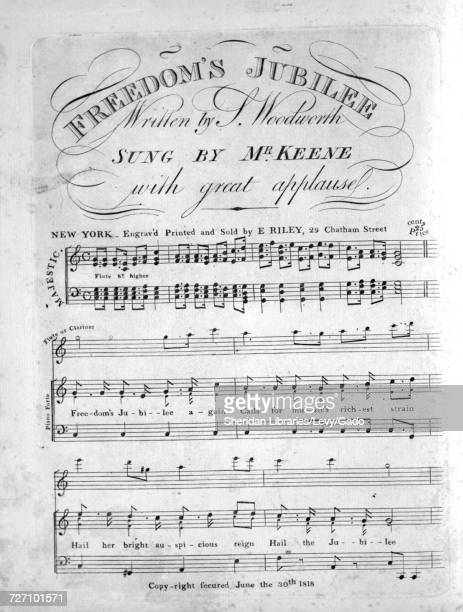 Sheet music cover image of the song 'Freedom's Jubilee' with original authorship notes reading 'Written by S Woodworth' United States 1818 The...