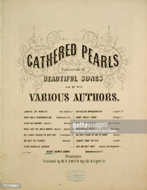 Sheet music cover image of the song 'Gathered Pearls A Collection of Beautiful Songs by Various Authors' with original authorship notes reading...