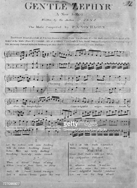 Sheet music cover image of the song 'Gentle Zephyr A New Song' with original authorship notes reading 'Written by the Author of Anna The Music...