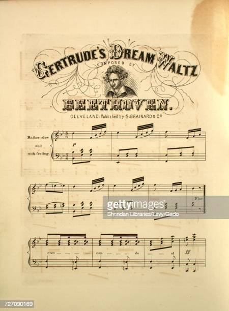 Sheet music cover image of the song 'Gertrude's Dream Waltz' with original authorship notes reading 'Composed by Beethoven' United States 1900 The...