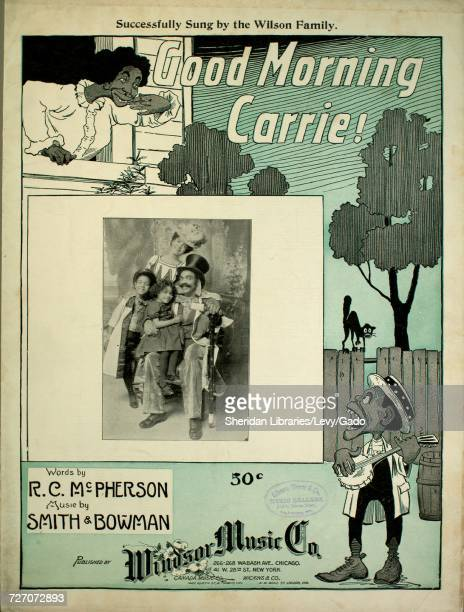 Sheet music cover image of the song 'Good Morning Carrie' with original authorship notes reading 'Words by RC McPherson Music by Smith and Bowman'...