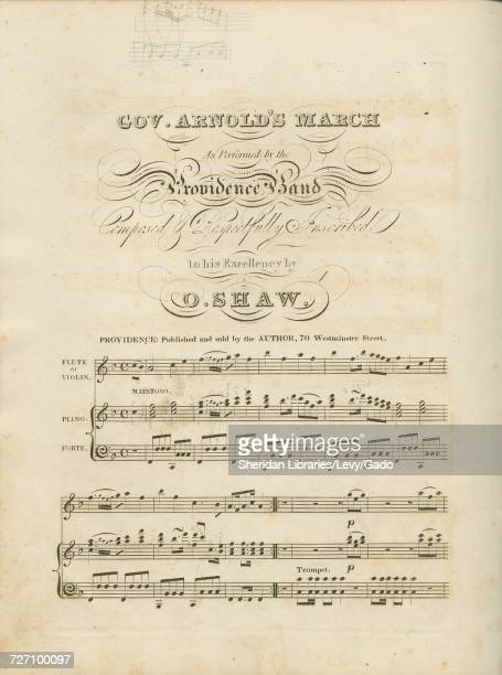 Sheet music cover image of the song 'Gov Arnold's March' with original authorship notes reading 'By O Shaw' 1900 The publisher is listed as...