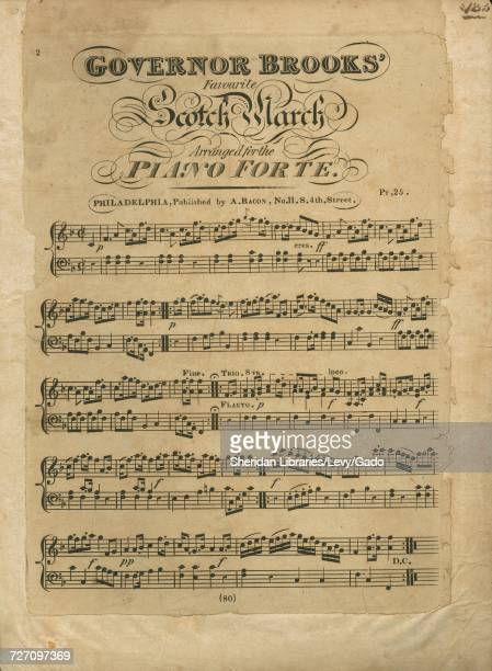 Sheet music cover image of the song 'Governor Brooks' Favourite Scotch March' with original authorship notes reading 'Arranged for the Piano Forte'...
