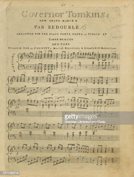 Sheet music cover image of the song 'Governor Tomkins New Grand March and Pas Redouble' with original authorship notes reading 'Arranged for the...