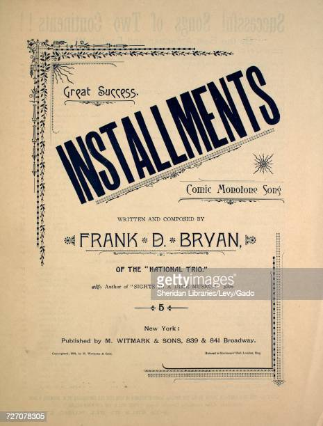 Sheet music cover image of the song 'Great Success Installments Comic Monotone Song' with original authorship notes reading 'Written and Composed by...