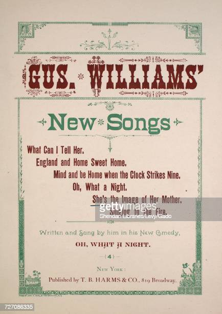 Sheet music cover image of the song 'Gus Williams New Songs She's the Image of Her Mother' with original authorship notes reading 'Written by Gus...