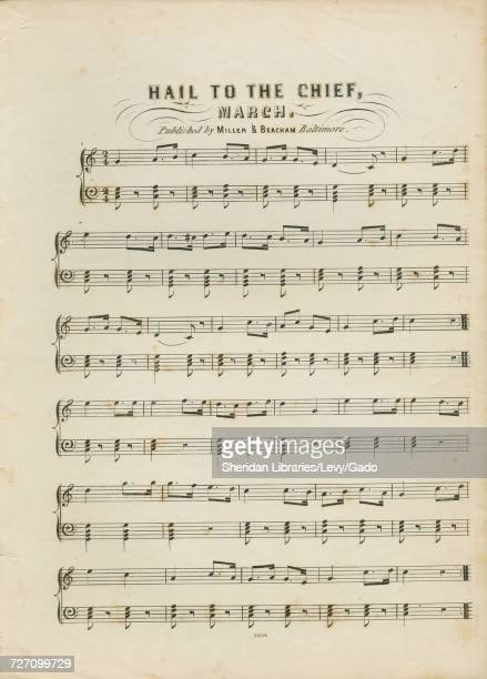 Sheet music cover image of the song 'Hail to the Chief March' with original authorship notes reading 'na' United States 1900 The publisher is listed...