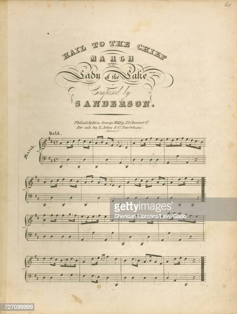 Sheet music cover image of the song 'Hail to the Chief March' with original authorship notes reading 'Composed by Mr Sanderson Written by Walter...