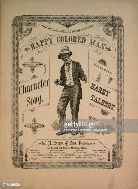 Sheet music cover image of the song 'Happy Colored Man Character Song' with original authorship notes reading 'Words and Music by Harry Talbert'...