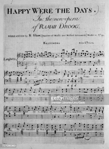 Sheet music cover image of the song 'Happy Were the Days In the new Opera of Ramah Droog' with original authorship notes reading 'na' United States...