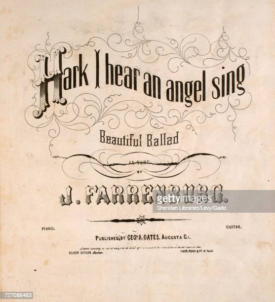 Sheet music cover image of the song 'Hark I Hear an Angel Sing Beautiful Ballad' with original authorship notes reading 'Poetry by WCB Music by RG...