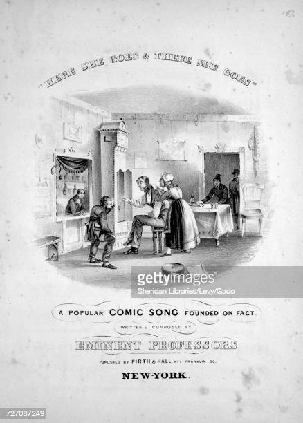 Sheet music cover image of the song ''Here She Goes and There She Goes' A Popular Comic Song Founded on Fact' with original authorship notes reading...