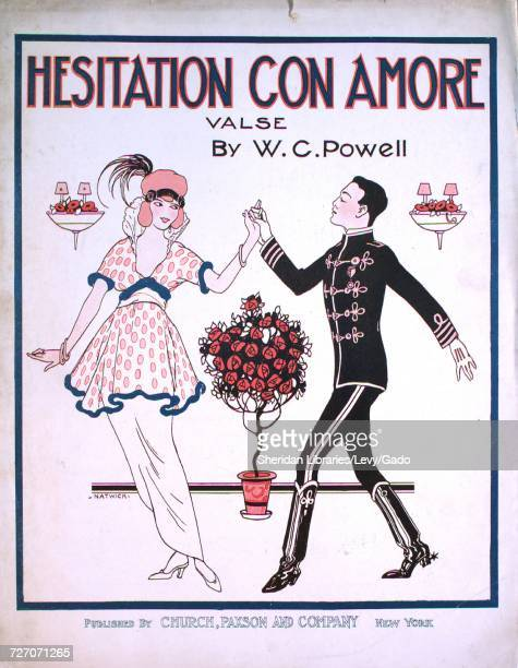 Sheet music cover image of the song 'Hesitation con Amore Valse' with original authorship notes reading 'by WC Powell' United States 1914 The...