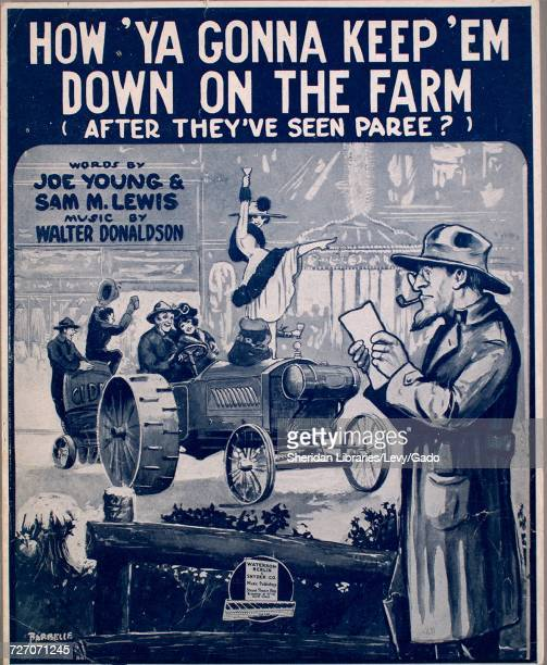 Sheet music cover image of the song 'How 'Ya Gonna Keep 'Em Down on the Farm ' with original authorship notes reading 'Words by Joe Young and Sam M...