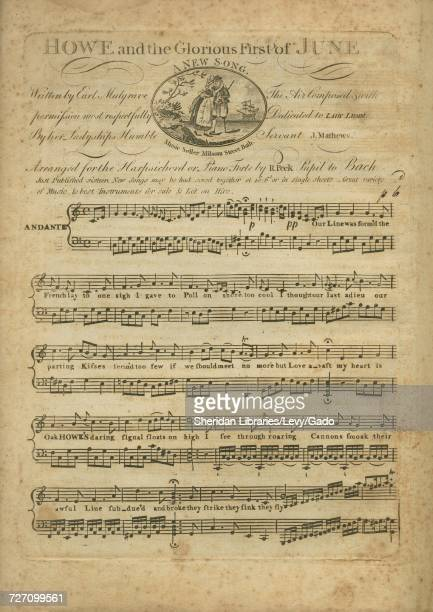 Sheet music cover image of the song 'Howe and the Glorious First of June A New Song' with original authorship notes reading 'Written by Earl Mulgrave...