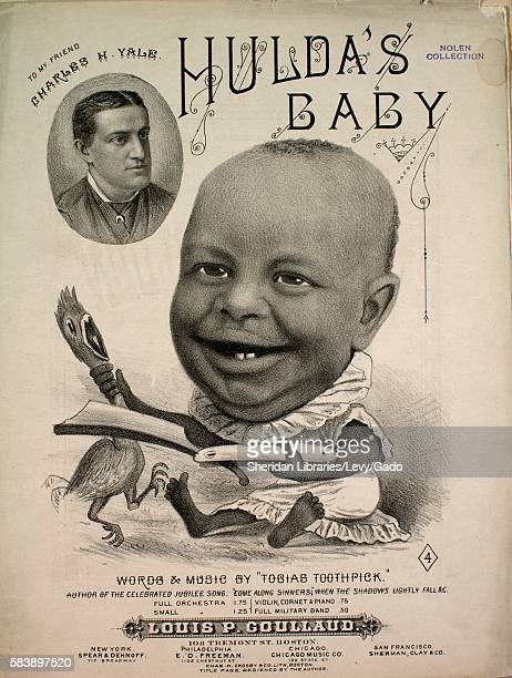 Sheet music cover image of the song 'Hulda's Baby Companion Piece to 'Come Along Sinners'' with original authorship notes reading 'Words Music by...