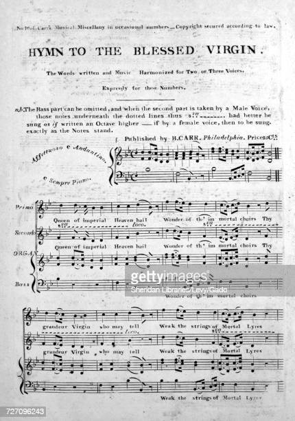 Sheet music cover image of the song 'Hymn to the Blessed Virgin' with original authorship notes reading 'the Words written and Music Harmonized for...