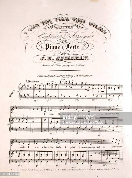 Sheet music cover image of the song 'I Own the Tear That Steals' with original authorship notes reading 'Written Composed and Arranged for the Piano...