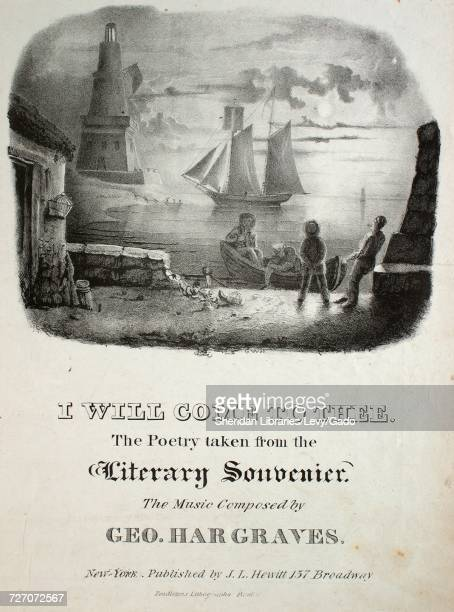 Sheet music cover image of the song 'I Will Come To Thee' with original authorship notes reading 'the Poetry taken from the 'Literary Souvenier' The...