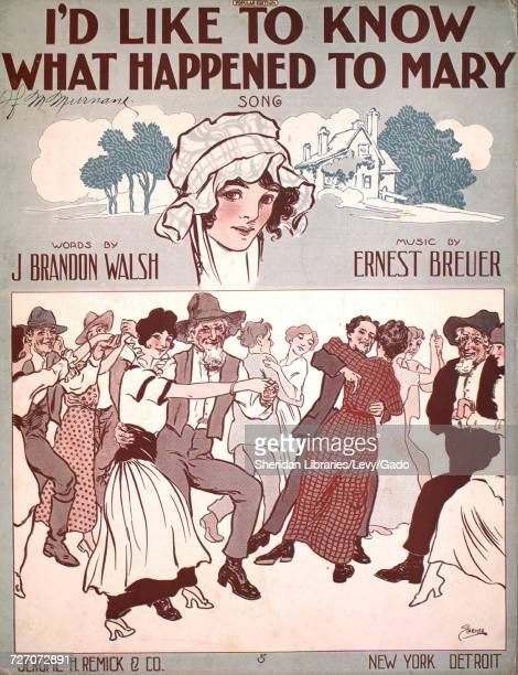 Sheet music cover image of the song 'I'd Like to Know What Happened To Mary Song' with original authorship notes reading 'Words by J Brandon Walsh...