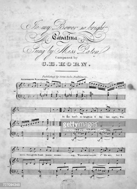 Sheet music cover image of the song 'In My Bower So Bright Cavatina' with original authorship notes reading 'Composed by CE Horn' United States 1900...
