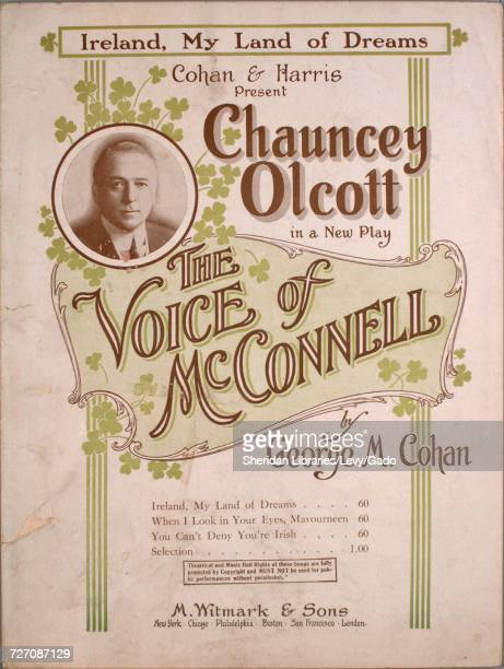Sheet music cover image of the song 'Ireland My Land of Dreams' with original authorship notes reading 'Written and Composed By George M Cohan'...