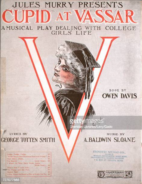 Sheet music cover image of the song 'Jules Murry Presents Cupid at Vassar A Music Play Dealing With College Girls' life The Poppy and the Pink' with...