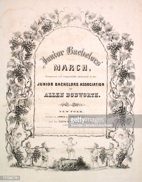 Sheet music cover image of the song 'Junior Bachelors' March' with original authorship notes reading 'Composed by Allen Dodworth' United States 1843...