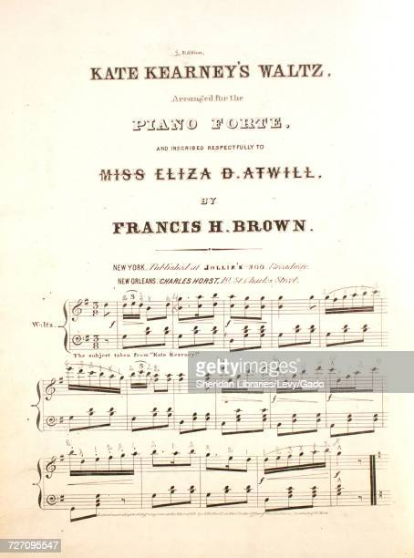 Sheet music cover image of the song 'Kate Kearney's Waltz 2nd Edition' with original authorship notes reading 'Arranged for the Piano Forte by...