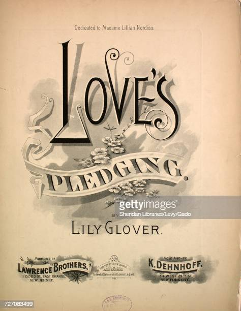 Sheet music cover image of the song 'Love's Pledging' with original authorship notes reading 'By Lily Glover' 1894 The publisher is listed as...